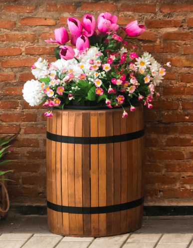 wooden barrel used as planter