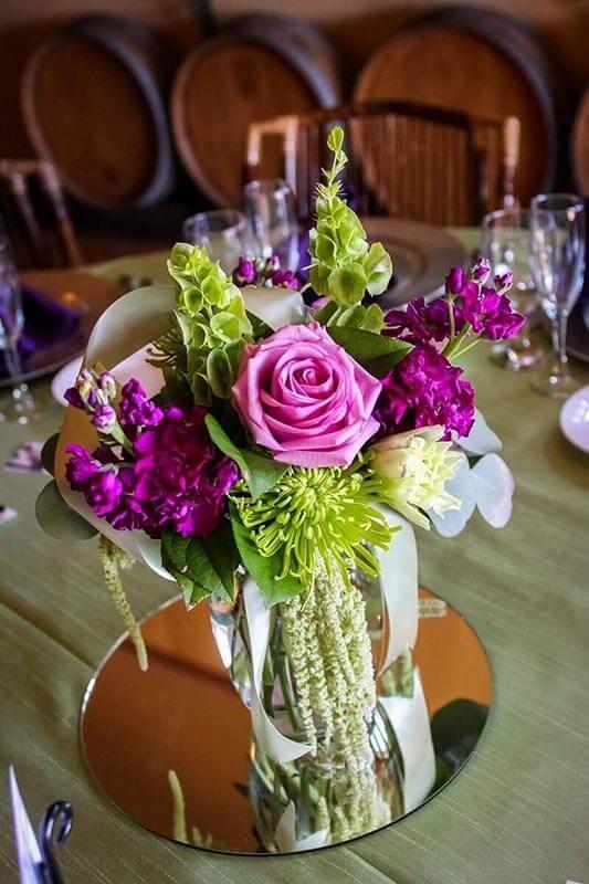 floral arrangement on acrylic mirror