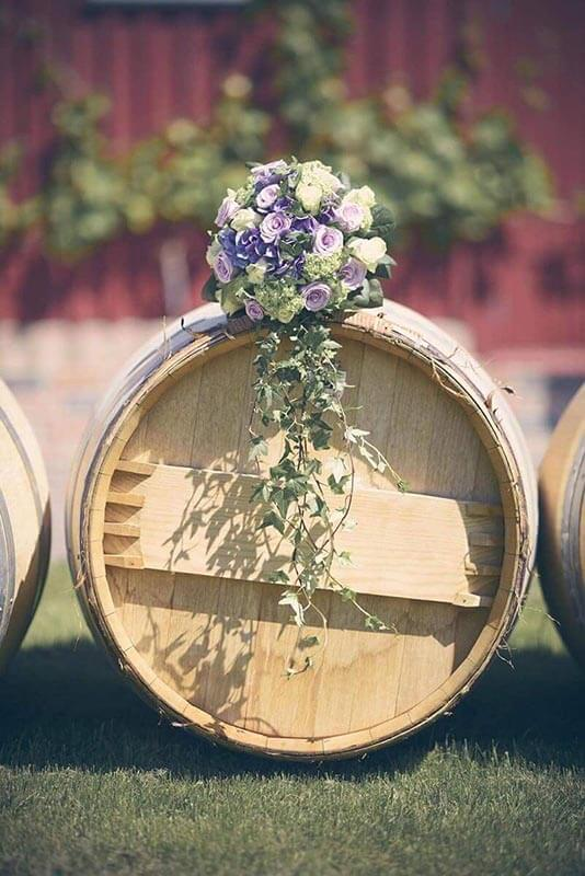 wooden barrel with flower