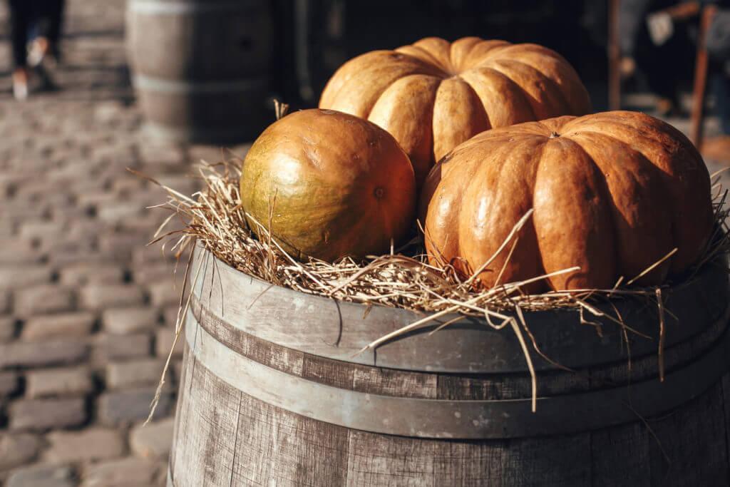 wooden barrel fall display