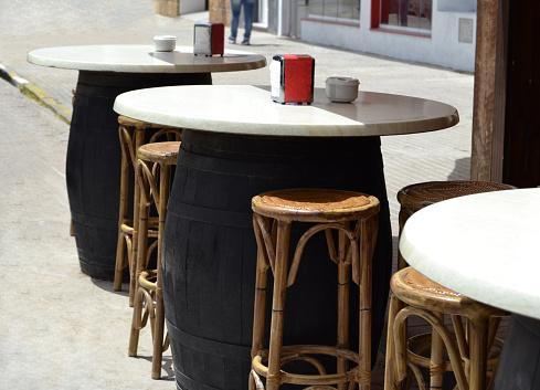 wooden barrel tables