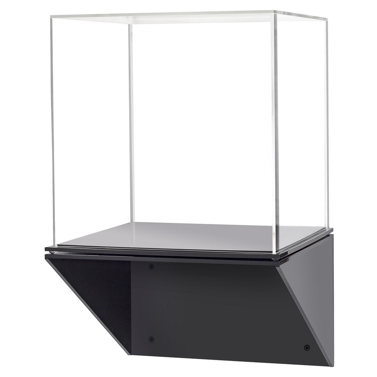 Acrylic Display Case With Black Wall Mount Shelf