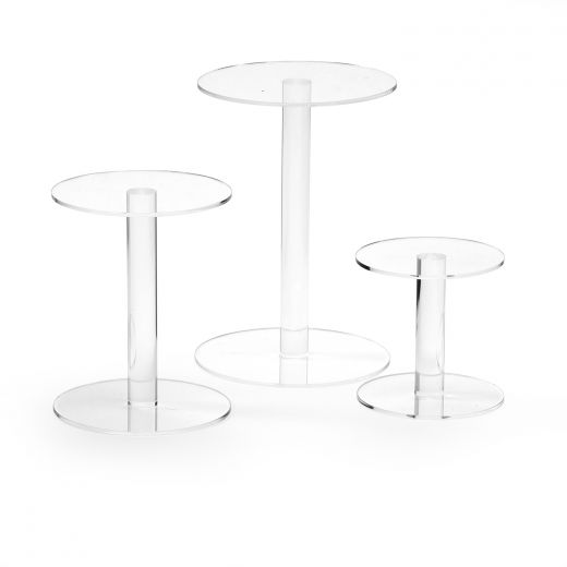 Clear Acrylic Round Risers   Set Of 3