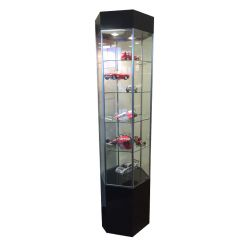 'Hex Shaped Showcase Display Tower with Lighting and Shelves' from the web at 'http://www.shoppopdisplays.com/mm5/graphics/00000001/10589BK_245x245.jpg'