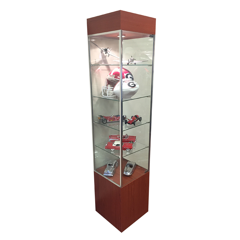 Supermarket Flower Arrangements Display Case Lighting: Square Showcase Display Tower With Lighting And Shelves