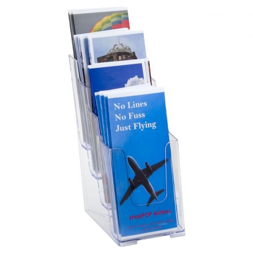 plastic counter top or wall mount 4 tier trifold pamphlet holder