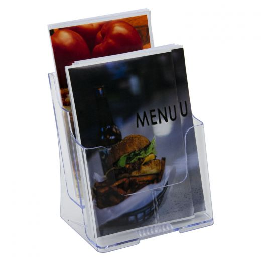 plastic counter top or wall mount double tier bifold pamphlet holder
