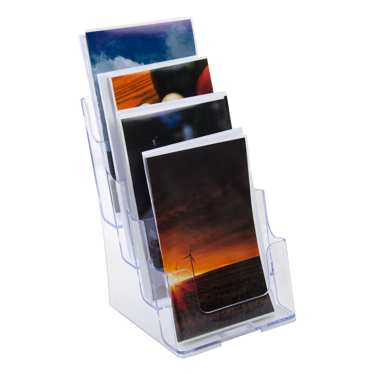 Plastic Counter Top Or Wall Mount 4 Tier Bifold Pamphlet