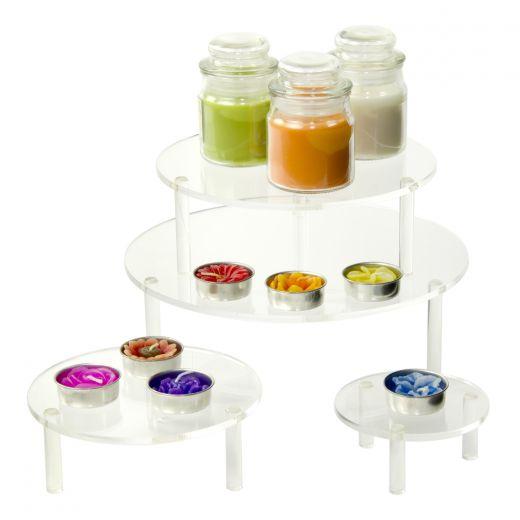 Round Acrylic Table Risers   Set Of 4   Buy Acrylic Displays   Shop Acrylic  POP Displays Online