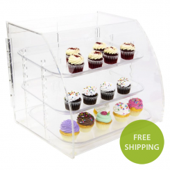 'Acrylic Curved Front 3 Tray Pastry Display' from the web at 'http://www.shoppopdisplays.com/mm5/graphics/00000001/11029-free-ship-800px_245x245.png'
