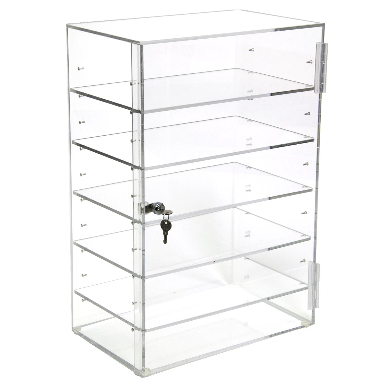 acrylic locking cabinet w   5 adjustable shelves