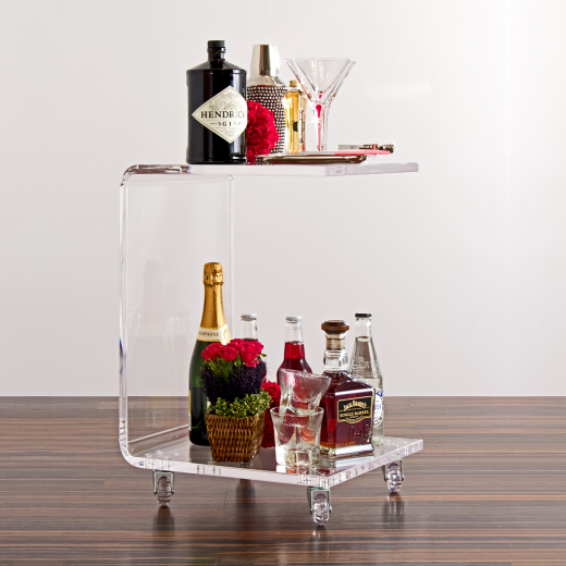Acrylic C End Table With Casters