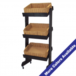 Three Tier Wood And Basket Display With Casters