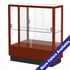 '3' Wide Wooden Full View Single Shelf Display Case with Sliding Doors and Mirrored Back' from the web at 'http://www.shoppopdisplays.com/mm5/graphics/00000001/12415CK_MoreColors_245x245.png'