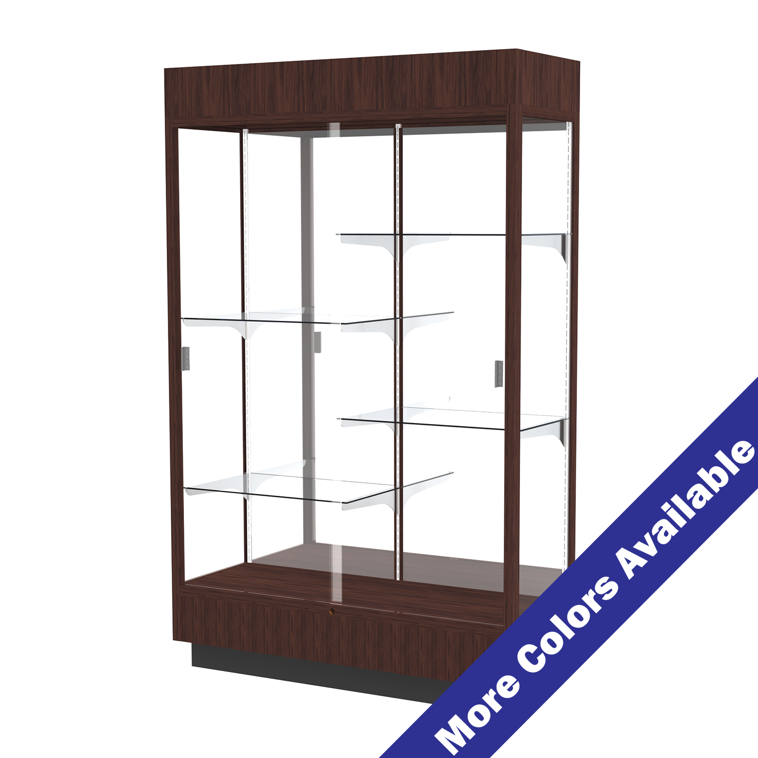 4 Wide Wooden Lighted Full View Display Case Sliding