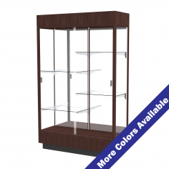 '4' Wide Wooden Lighted Full View Display Case, Sliding Doors, 4 Half Shelves and Mirrored Back' from the web at 'http://www.shoppopdisplays.com/mm5/graphics/00000001/12416ES_MoreColors_245x245.png'