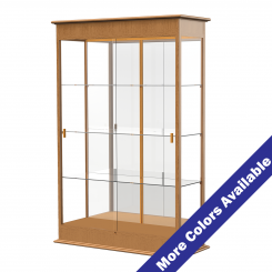'4' Wide Wooden Lighted Floor Standing Display Case with Sliding Doors and Mirrored Back' from the web at 'http://www.shoppopdisplays.com/mm5/graphics/00000001/12417ES_MoreColors_245x245.png'