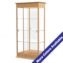 '3' Wide Wooden Lighted Floor Standing Display Case with Sliding Doors and Mirrored Back' from the web at 'http://www.shoppopdisplays.com/mm5/graphics/00000001/12418NO_MoreColors_245x245.png'