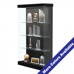 '4' Wide Lighted Wood Laminate Left Sliding Door Display Case' from the web at 'http://www.shoppopdisplays.com/mm5/graphics/00000001/12423BK_2_MC_245x245.png'