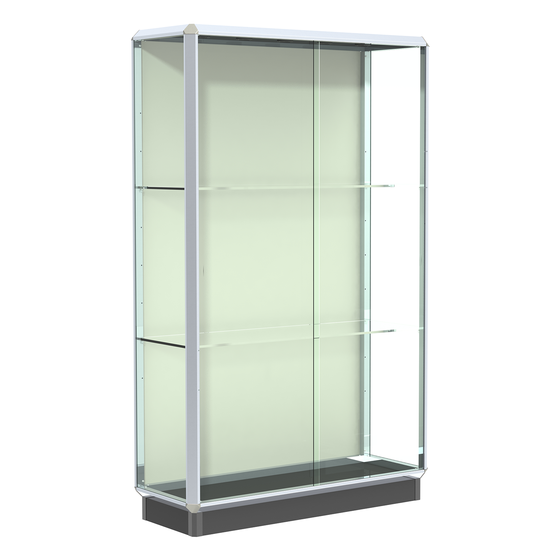 Chrome 4 Wide Aluminum Frame Floor Standing Display Case