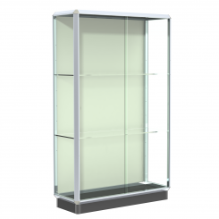 'Chrome 4' Wide Aluminum Frame Floor Standing Display Case with Locking Doors' from the web at 'http://www.shoppopdisplays.com/mm5/graphics/00000001/12424CR_245x245.png'