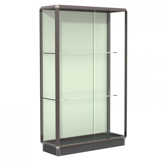 Dark Bronze 4 Wide Aluminum Frame Floor Standing Display Case With