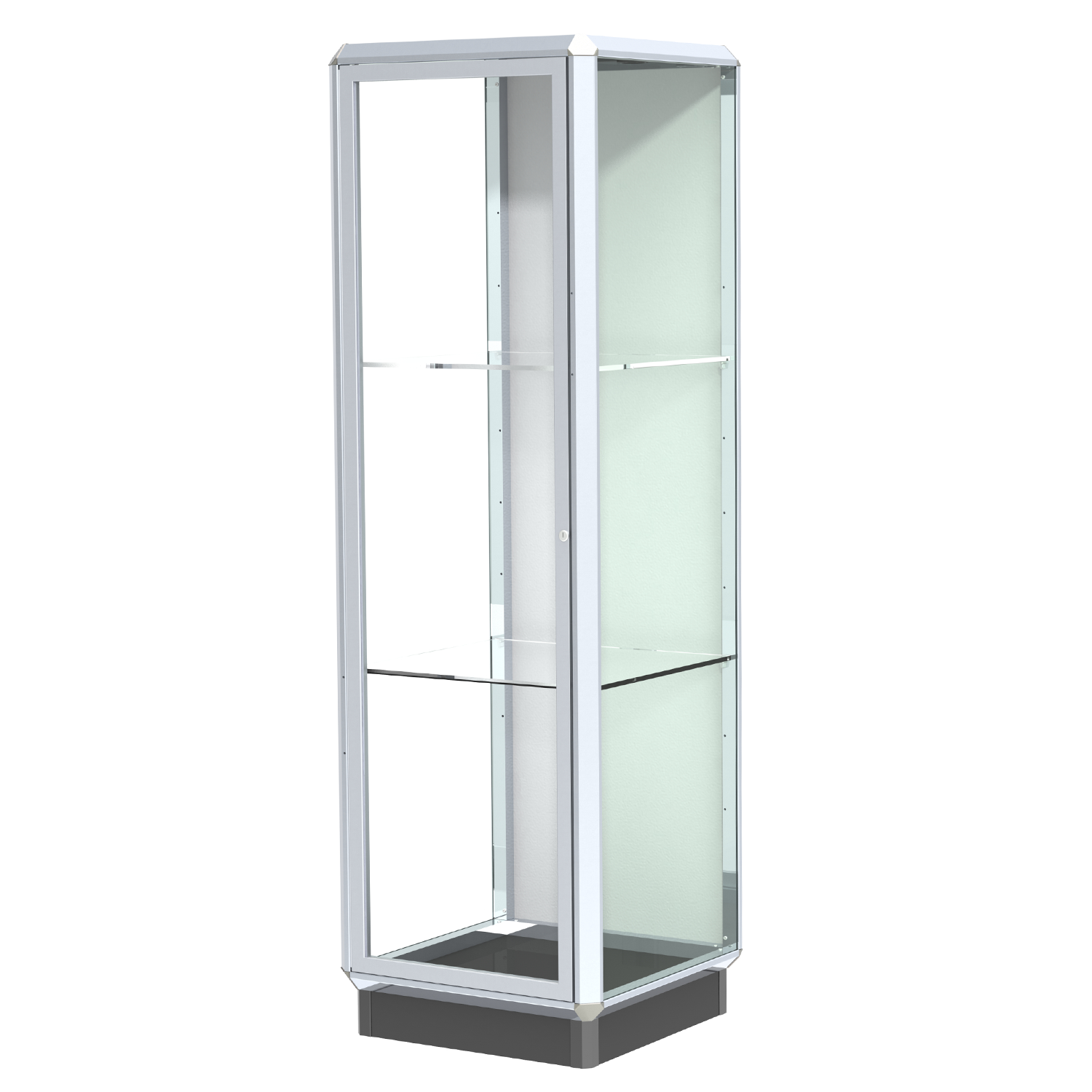 Chrome 2 Aluminum Frame Floor Standing Display Case With 2 Adjustable Shelves Locking Doors And L Buy Acrylic Displays Shop Acrylic Pop
