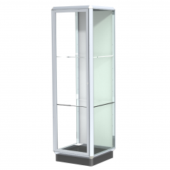 'Chrome 2' Aluminum Frame Floor Standing Display Case with 2 Adjustable Shelves, Locking Doors, and L' from the web at 'http://www.shoppopdisplays.com/mm5/graphics/00000001/12425CR_245x245.png'