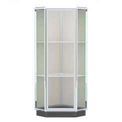 'Chrome Aluminum Frame Floor Standing Corner Display Case' from the web at 'http://www.shoppopdisplays.com/mm5/graphics/00000001/12426CR_245x245.png'