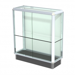 'Chrome-Finished Aluminum Frame Free Standing Counter Display Case with Single Shelf' from the web at 'http://www.shoppopdisplays.com/mm5/graphics/00000001/12427CR_245x245.png'