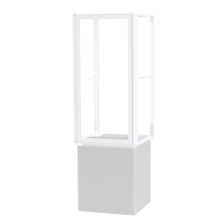 'Chrome Aluminum Frame Floor Standing Showcase with 1 Adjustable Shelf, Glass Back, Black Base, and L' from the web at 'http://www.shoppopdisplays.com/mm5/graphics/00000001/12428CR_245x245.png'