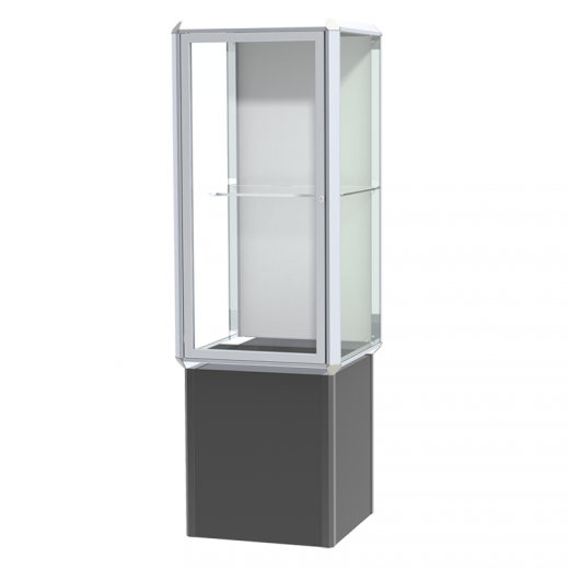 Chrome Aluminum Frame Floor Standing Showcase with 1 Adjustable ...