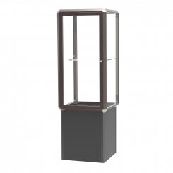 'Dark Bronze-Finished Aluminum Frame Standing Display Case with Shelf, Locking Base' from the web at 'http://www.shoppopdisplays.com/mm5/graphics/00000001/12428DZ_245x245.png'