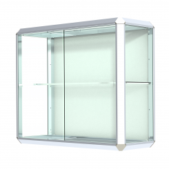 'Chrome-Finished Aluminum Frame Wall Mount Display Case with Shelf' from the web at 'http://www.shoppopdisplays.com/mm5/graphics/00000001/12429CR_245x245.png'