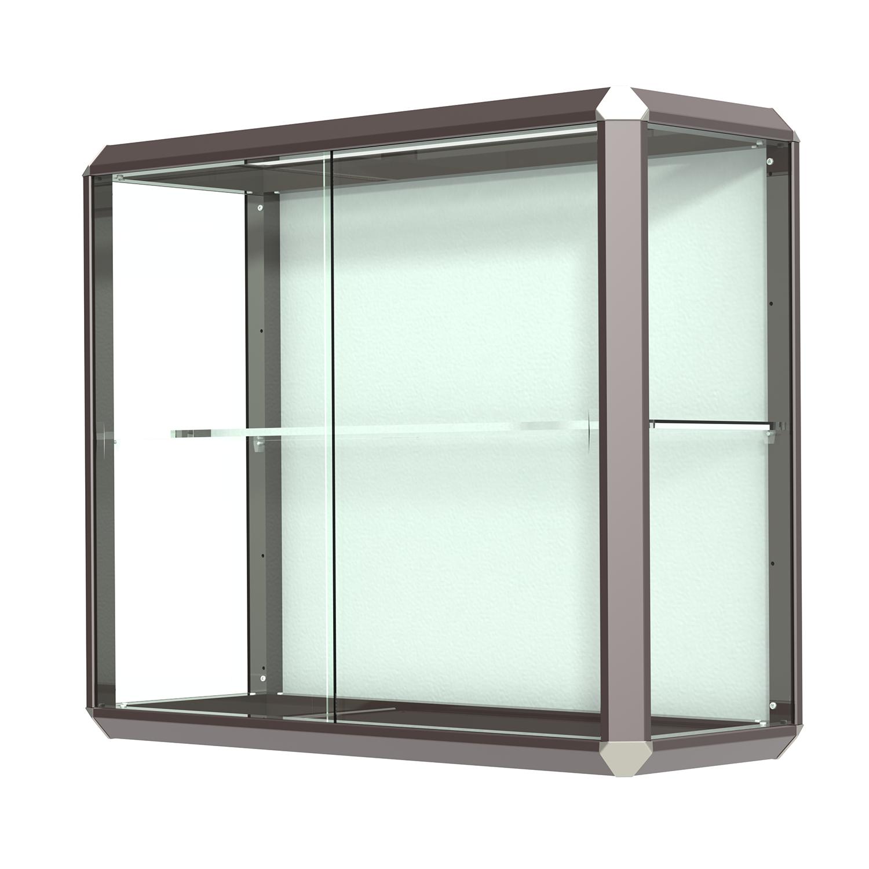 dark bronze finished aluminum frame wall mount display case with shelf buy acrylic displays. Black Bedroom Furniture Sets. Home Design Ideas