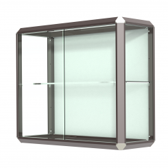 'Dark Bronze-Finished Aluminum Frame Wall Mount Display Case with Shelf' from the web at 'http://www.shoppopdisplays.com/mm5/graphics/00000001/12429DZ_245x245.png'