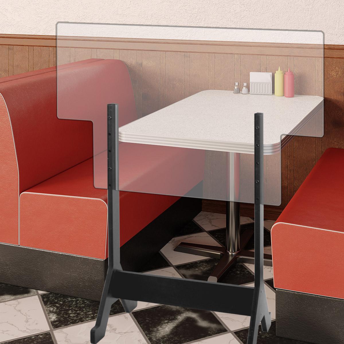 Restaurant Table Separator Floor Standing Sneeze Guard 54 To 63 H X 47 5 W Adjustable Height Shoppopdisplays