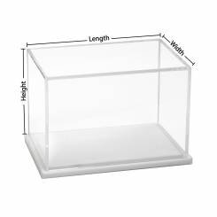 'Custom Size Acrylic Display Box with White Base' from the web at 'http://www.shoppopdisplays.com/mm5/graphics/00000001/9x6x6_WhiteNew_245x245.png'