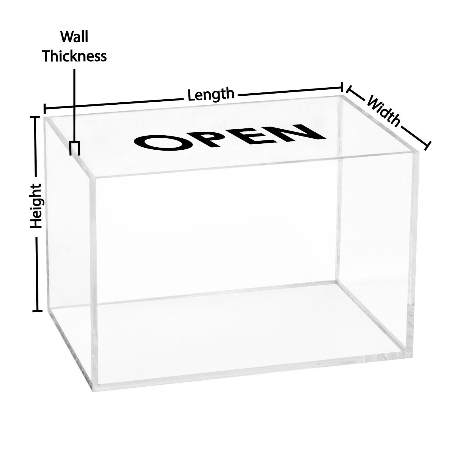 5 Sided Clear Acrylic Box Custom Size Buy Acrylic