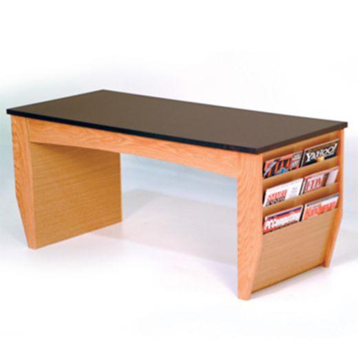 Light Oak Magazine Rack Coffee Table With Black Granite Top   Buy Acrylic  Displays | Shop Acrylic POP Displays Online