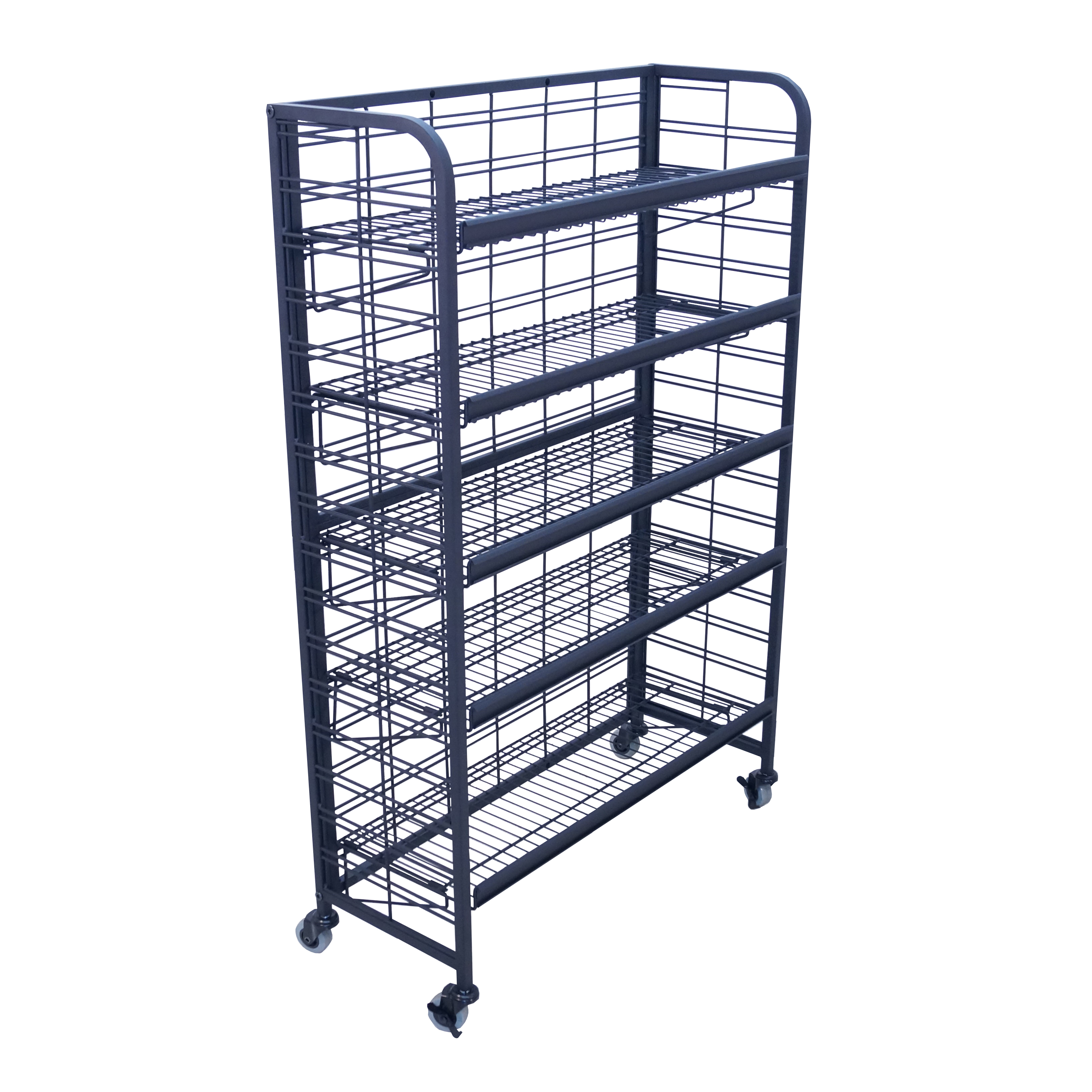 rolling shelf rack five shelf rolling wire display buy acrylic displays 25636