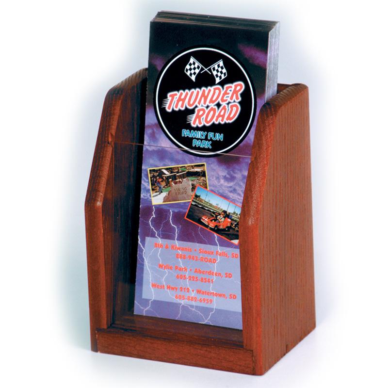 Mahogany Single Pocket Wood Brochure Holder With Acrylic