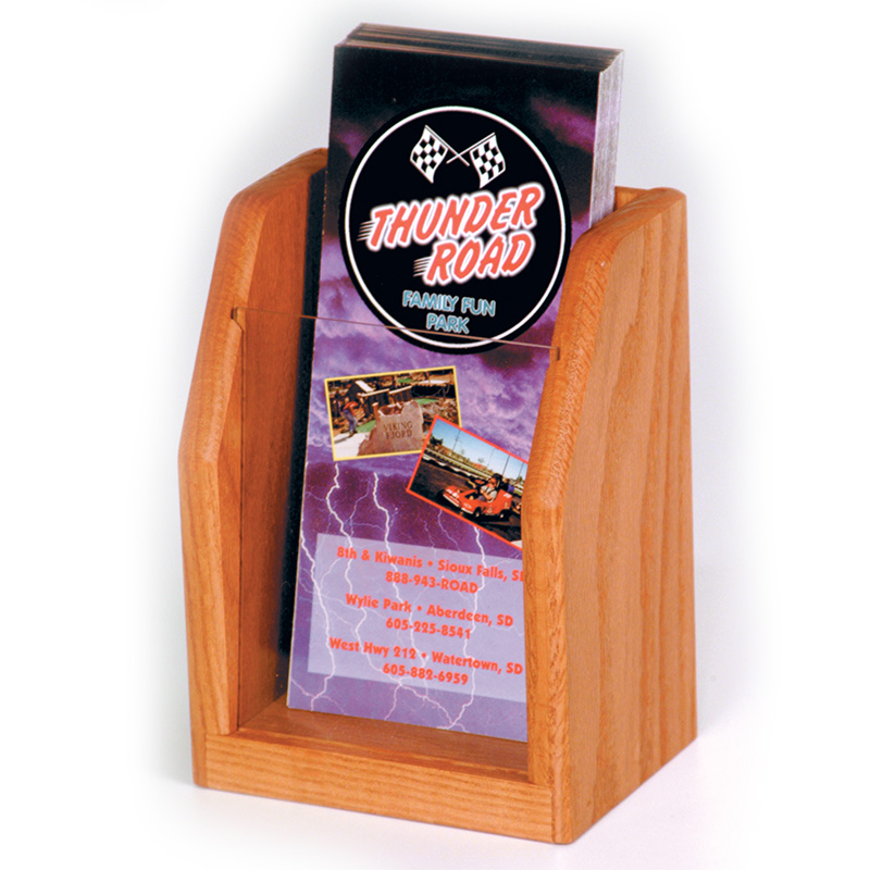 Medium Oak Single Pocket Wood Brochure Holder With Acrylic