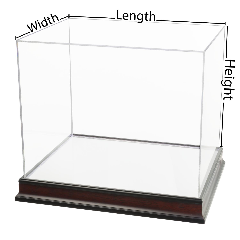 Custom Size Acrylic Box With Mirrored Mahogany Wood Base
