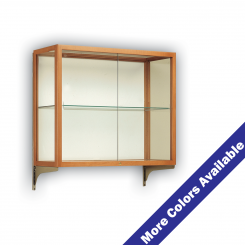 'Wall Mount Wooden Mirrored Counter Top Single Shelf Display Case' from the web at 'http://www.shoppopdisplays.com/mm5/graphics/00000001/P_12414-WM_1_245x245.png'