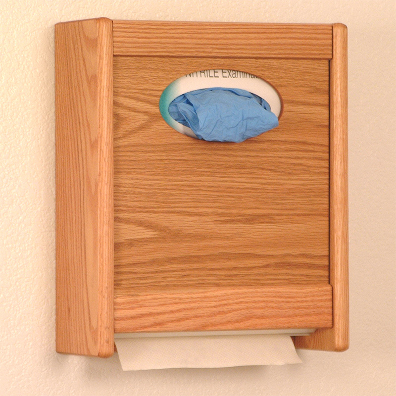 Light Oak Wall Mounted Glove And Paper Towel Dispenser