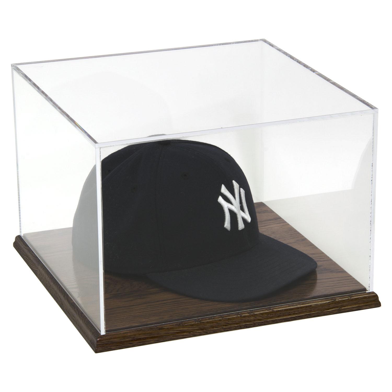 Acrylic Baseball Cap Display Case With Solid Hardwood Base