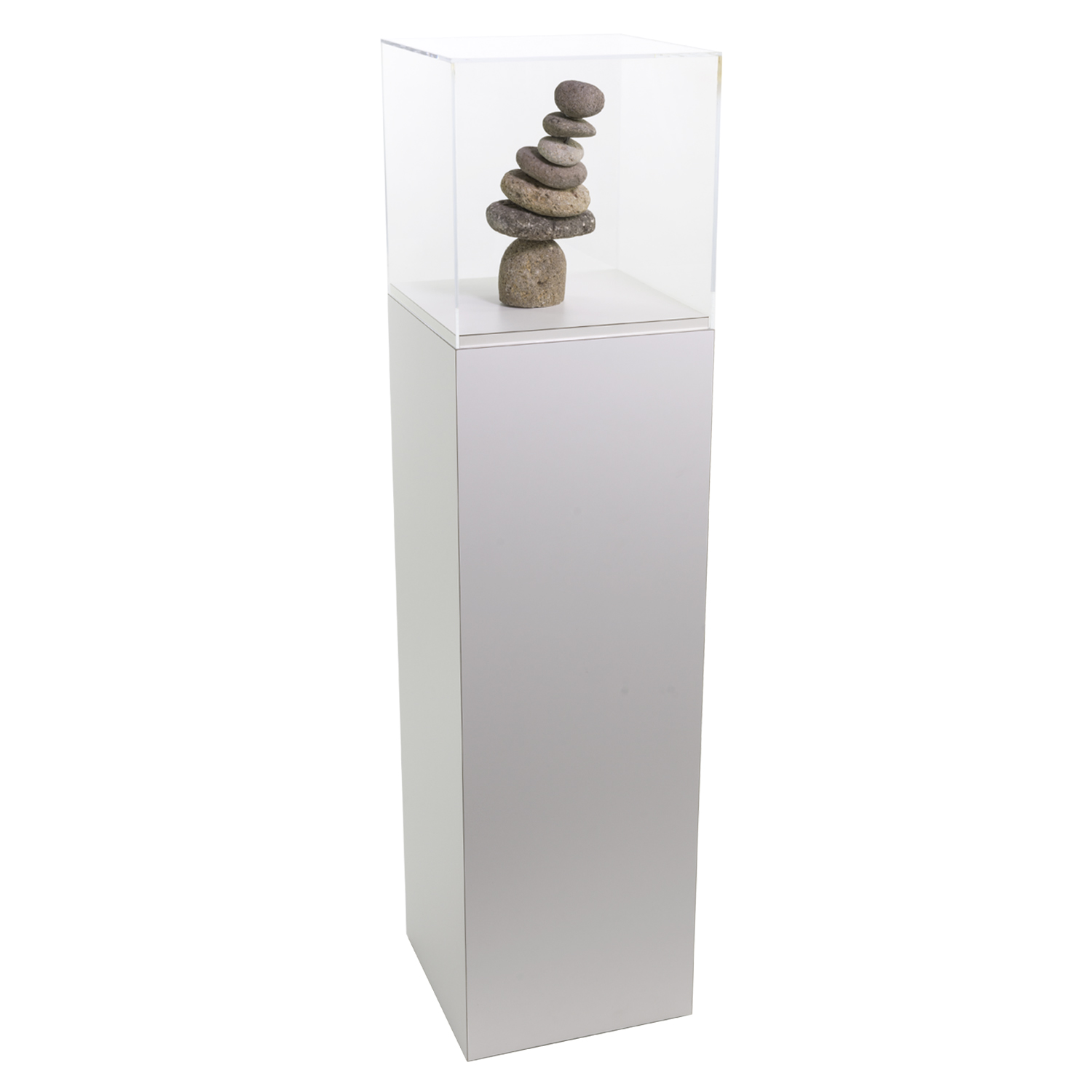 White Laminate Pedestal Display Case With Acrylic Cover